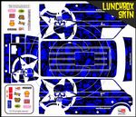 Blue Gothic Skullz themed vinyl SKIN Kit & Stickers To Fit Tamiya Lunchbox R/C Monster Truck
